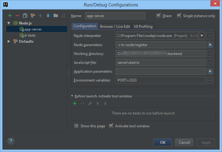 Intellij Node.js Backend Run/Debug Configuration